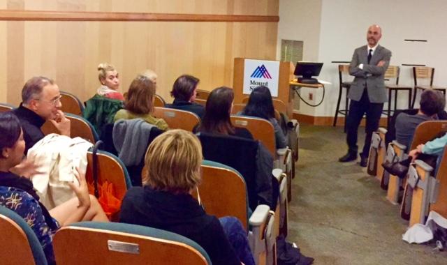 Sean Grover speaks at Beth Israel Hospital, EGPS, Oct. 2, 2015