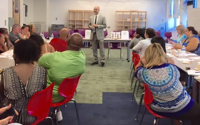 Sean Grover speaking at Egbert Jr HS, Staten Island, Sept. 18, 2015